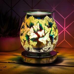 Papillons-Verre-Cire-Fondre-Lampe-Huile-Bruleur-Home-Parfum-Aromatherapie-Clair