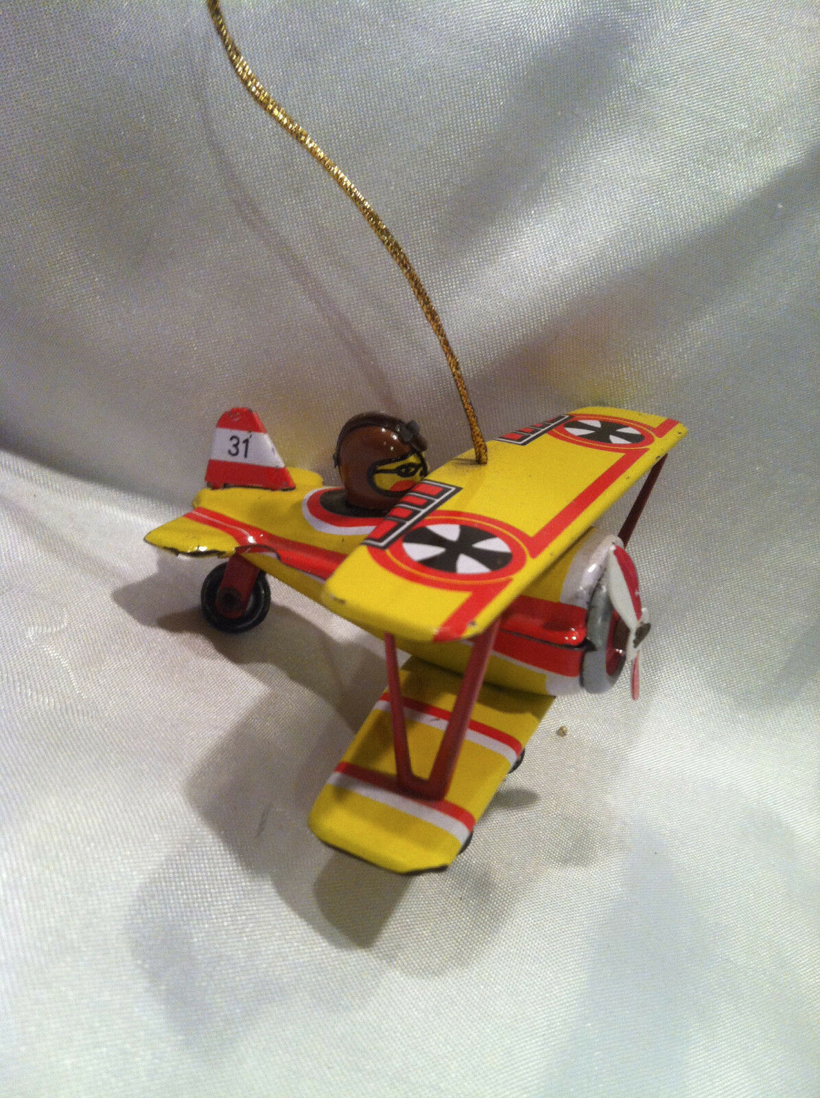 COLLECTIBLE RETRO AIRPLANE TIN TOY WITH PILOT PUSH ACTION OR CAN HANG