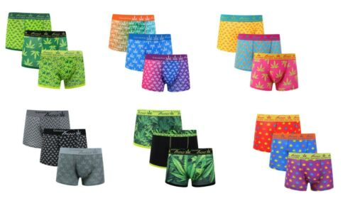 3 Pack Homme Hipster Boo Boxer Trunks Cannabis leaf Boxer Shorts Sous-vêtements Brève