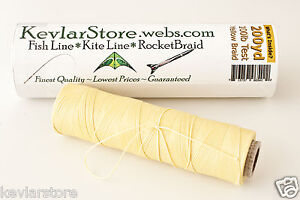100lb test Braided Kevlar ~ 600ft Increments ~ Natural Yellow ~ FREE SHIPPING!