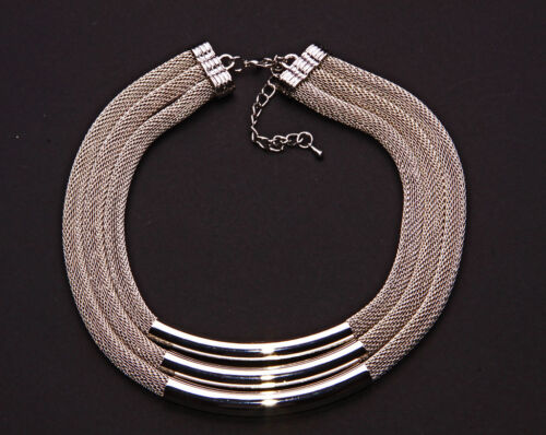 Cl29 Ajustable Cuerda Metal De Plata Gargantilla en un limpio y Minimalista Mira
