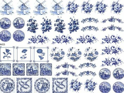 DoLLHouSe MiNiaTureS BLuE DeLfT ShaBby WaTerSLiDe DeCALs Découpage DM25