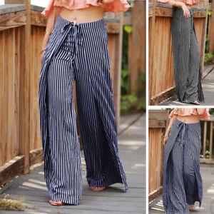 Mode-Femme-Pantalon-Bande-Decontracte-lache-Bande-elastique-Jambe-Large-Plus