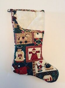 Aida cross stitch christmas stocking quilted fabric 17 for Charles craft christmas stockings