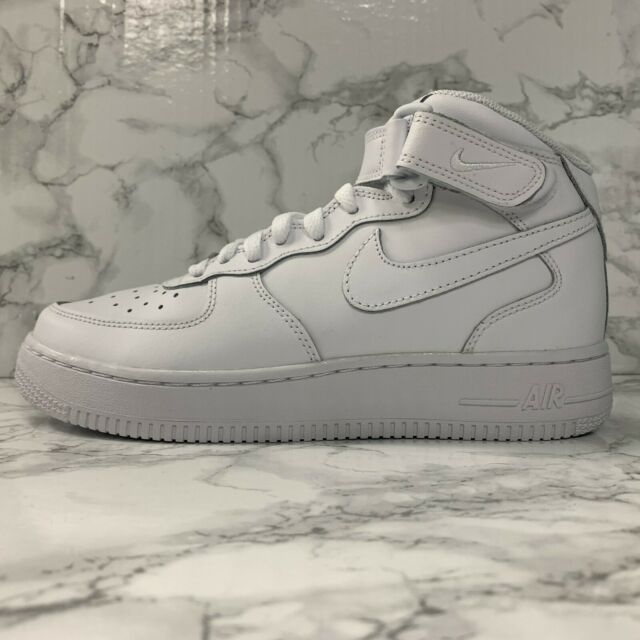 Nike Air Force 1 Mid Youth Leather Basketball Shoes Sneakers White 314195-113