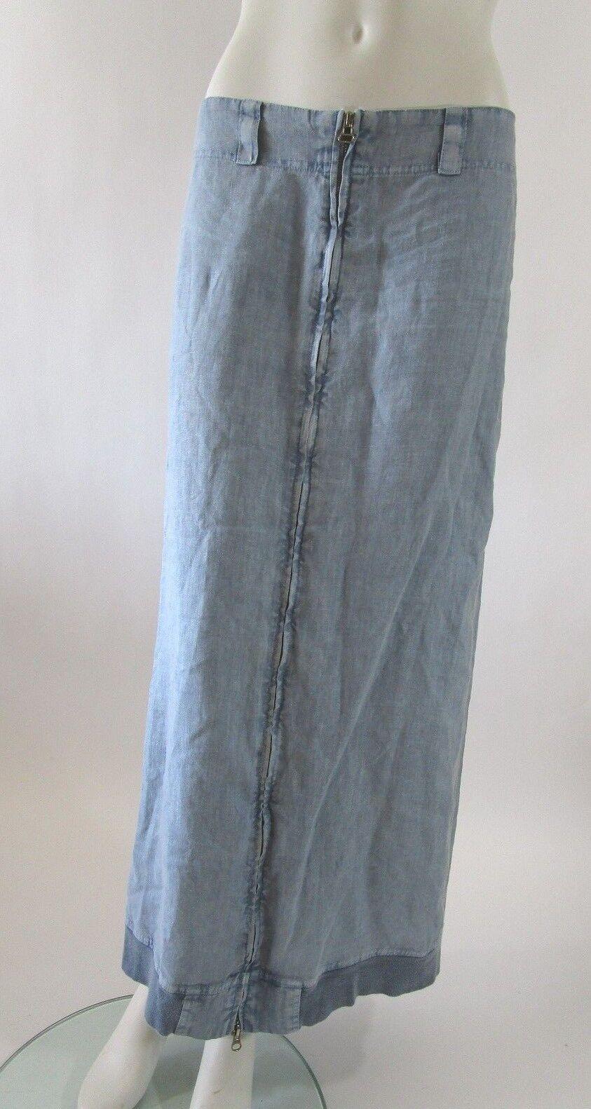 THEODORE BEVERLY HILLS Front Zipper bluee Linen Pencil Skirt Knit Trim Size S