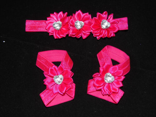 Set Haarband mit Blume Fuß Stirnband Haarschmuck Baby Kopfband Sandale Glitzer