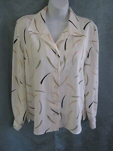 Vintage Leslie Fay Petites Blouse Size 12P High Energy Print Career Top