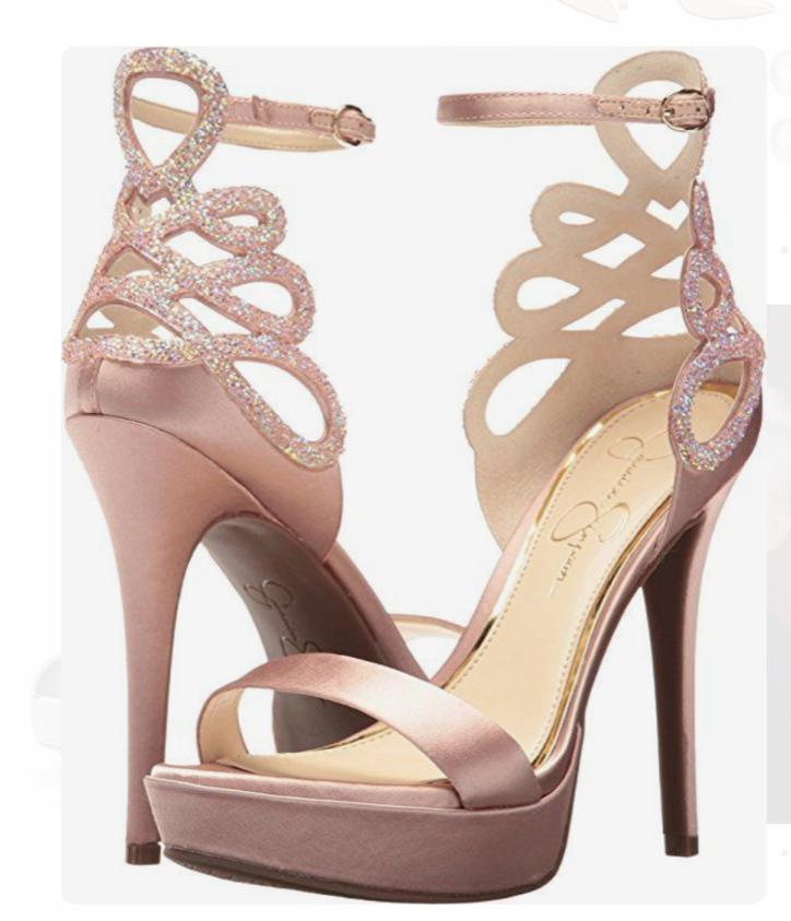 NIB Jessica Jessica Jessica Simpson Bayvinn Nude bluesh Satin Crystal Cutout Platform Sandals 9.5 b42bdf