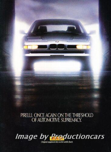 1990 1991 BMW 850i Pirelli Tire Classic Vintage Advertisement Ad H11