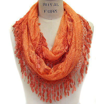 Scarfand's Lace Infinity Scarf with Fringes