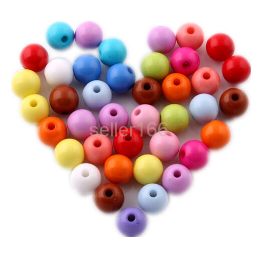 100 pcs mixed Acrylic Spacer findings Loose Beads Bracelets necklace charms 8mm