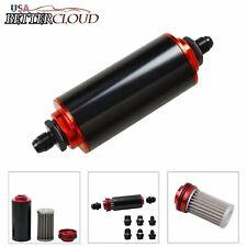Black&Red AN6 AN8 AN10 Inline Fuel Filter High FLOW 100 Micron Cleanable SS