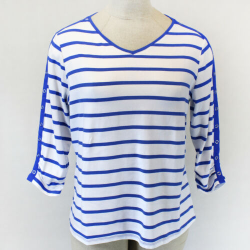 Susan Graver Weekend Plus Striped Blue V-Neck 3//4 Sleeve Blouse Top 1X