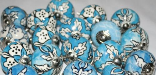 Vintage Kitchen Pulls or Drawer Handles Ceramic Cabinet Knobs Chrome Set//2
