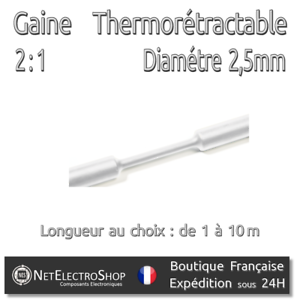 Blanc 2,5 mm Gaine Thermorétractable 2:1 Diam 1 à 10m #049