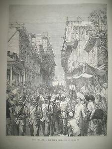 INDE-RUE-DE-PECHAWAR-SIMLA-TIRAILLEURS-AFGHANS-NUIT-DE-NOEL-VESUVE-GRAVURES-1878