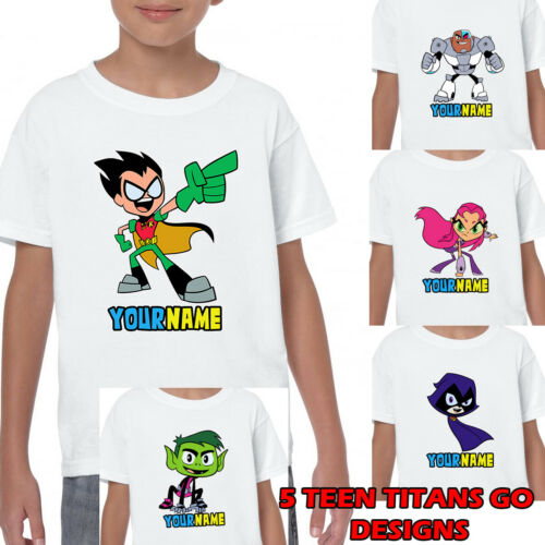 TEEN TITANS GO Personalised Name T-shirt Printed Kids Birthdays Gifts Age 1-13