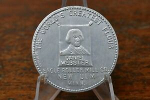 Vintage Daniel Webster Flour Eagle Roller Mill Co New Ulm, MN Pocket Mirror