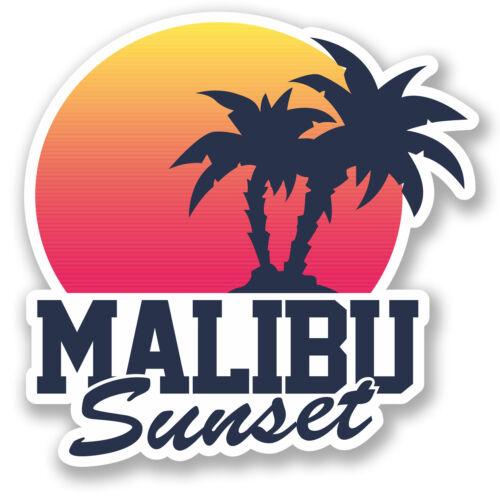 2 X Malibu Sunset pegatina de vinilo calcomanía Ipad Laptop Equipaje De Viaje Etiqueta Label # 5499