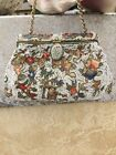 Vintage French Embroidered Silk Beaded Purse Enameled Hinge