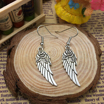 Free shipping Antique Silver Jewelry Angel wings earring