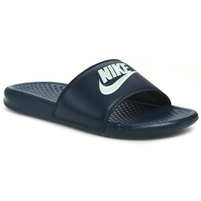 New Nike Banassi JDI 343880-403 Midnight Blue Slippers Men
