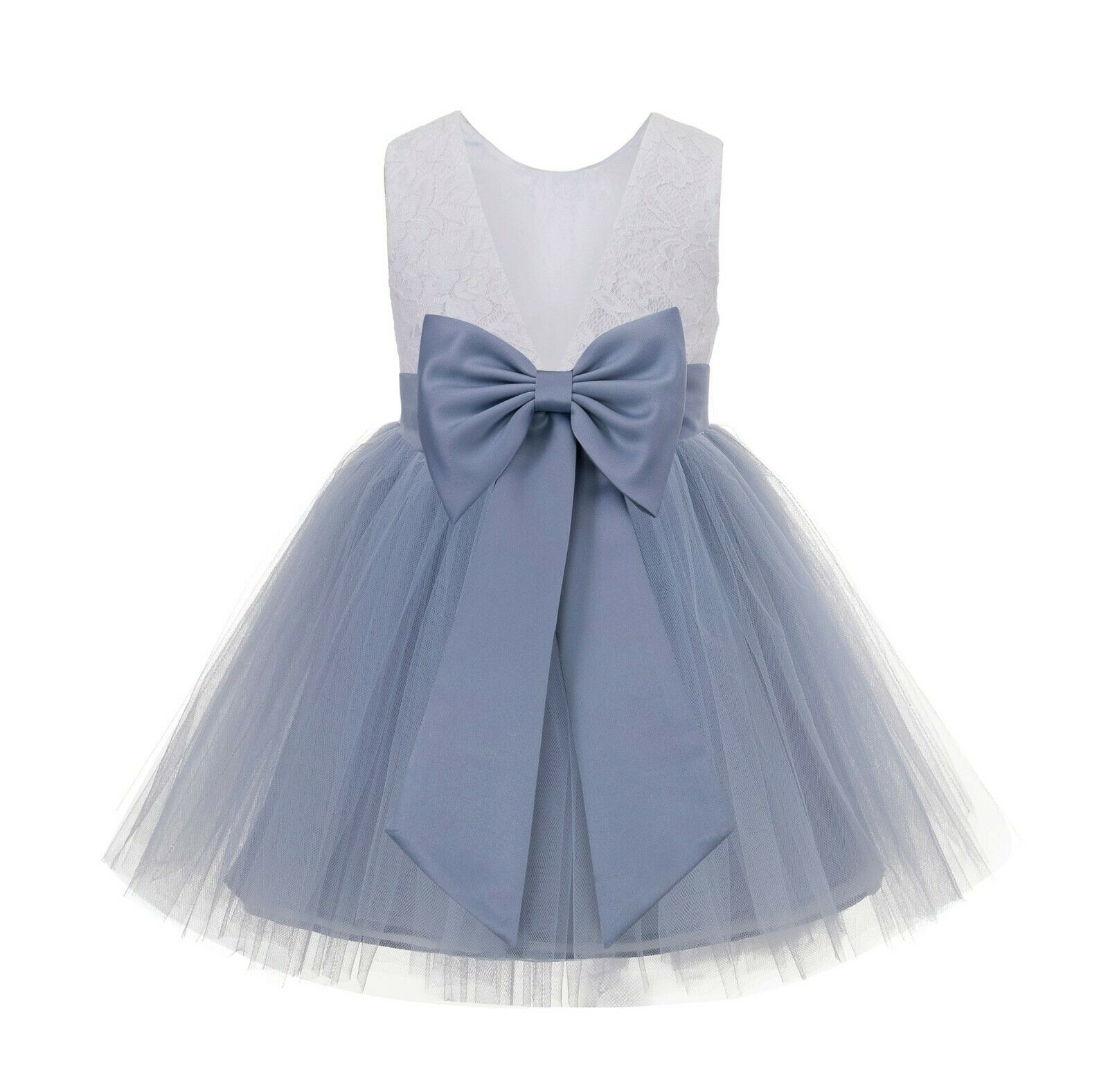 Backless Lace V-Back Flower Girl Dress Tulle Dresses Girl Dress Special Occasion