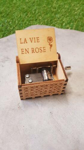 Boîte à musique en bois Wooden Music Box La vie en rose  NEUF SOUS EMBALLAGE