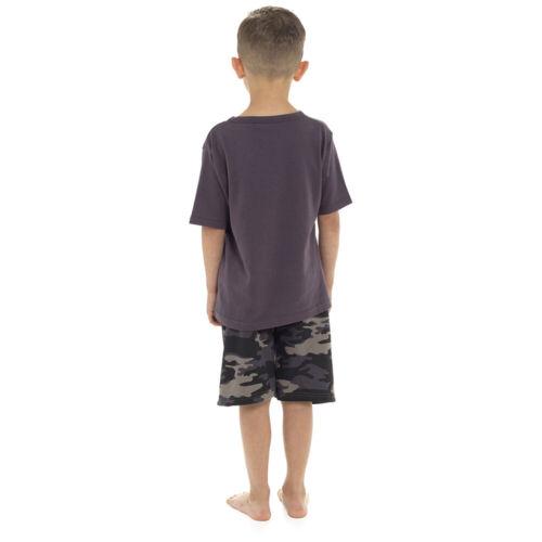 Neuf Garçons Camouflage Armée Imprimé Court Pyjama ensemble t-shirt en coton Lounge Shorts Nightwear
