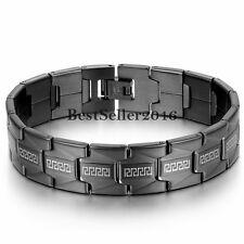 Greek Key Black Stainless Steel Link Chain Men's Bracelet Cuff Bangle Wristband