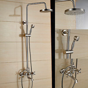 Brushed Nickel Wall Mounted Bath 8 Rain Shower Faucet Set Two