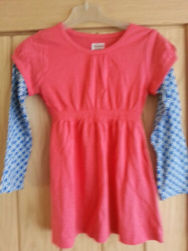 Mini Boden Girls Pink with Blue Sleeves Tunic Top Dress  Age 5-6 LAST FEW SALE