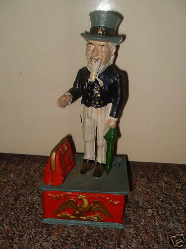Uncle Sam Moneybox, Cast Iron, Replica But Quite Old