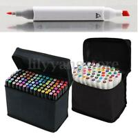 80 Color SET Graphic Art Sketch Tip Marker Pen Broad Fine Point Storage Bag Gift