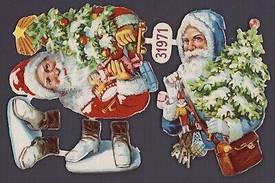 DIE CUT SCRAPS 2 uralte geprägte Weihnachtsmänner Oblaten L/&B 31971