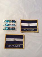 Lot Of Nicaragua Flags Iron Sew On Patches Blue White Collectible Vintage