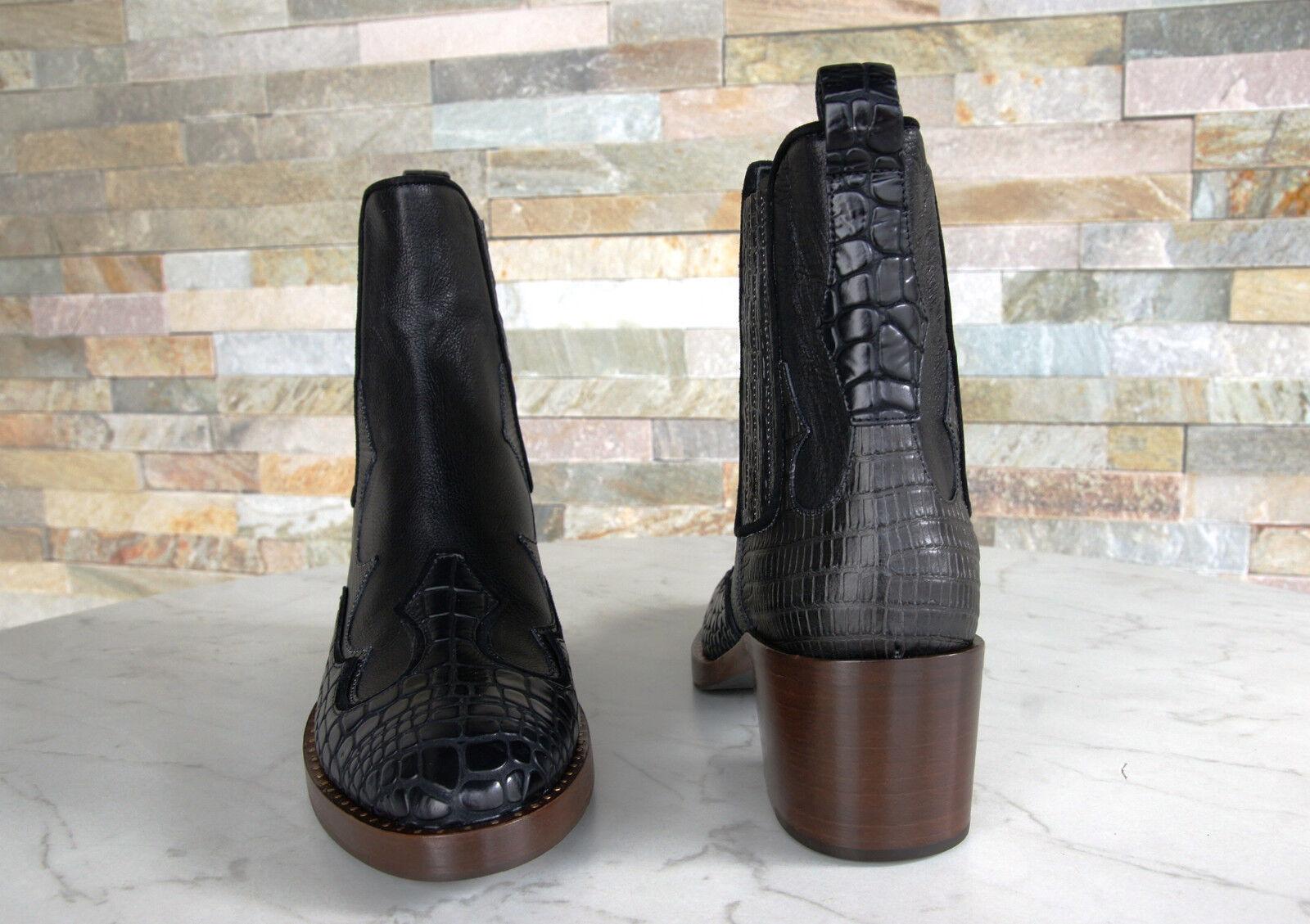 Car schuhe Stiefeletten Gr 38 Schuhe Schuhe Schuhe Cowboy Kroko KDT81M schwarz NEU ehem   cb21a1