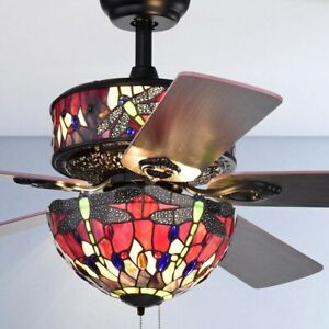 Tiffany Style Stained Glass Jeweled Dragonfly 6 Light 5 Blade 52 In Ceiling Fan Ebay