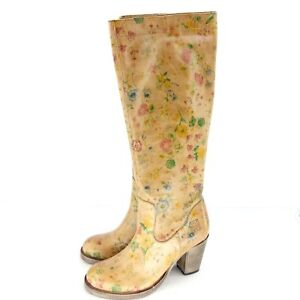 Walk-IN-The-Park-Chaussures-Femmes-Bottes-Taille-36-Braun-Cuir-Fleurs-Motif-Np
