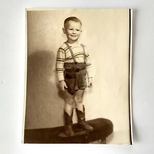 Vintage Photo of Little Boy in Cowboy Boots Tinted