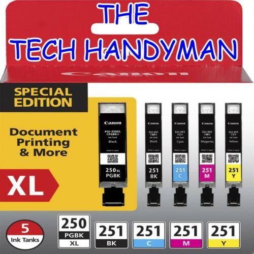 5-PACK Canon GENUINE PGI-250XL Black /& CLI-251 Color Ink NO RETAIL BOX MX922
