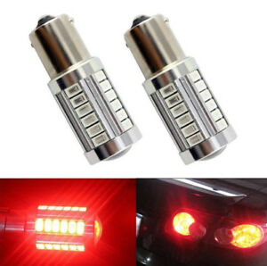 2PCS New Red Bulb LED Car BA15S P21W 1156 Backup Reversing Light 33-SMD 5730 12V