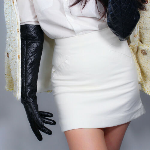 FUR LONG GLOVES Snow White Faux Leather 50cm Wide Puff Balloon Big Sleeves Large