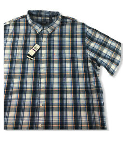 IZOD-All-Cotton-Plaid-Short-Sleeve-Button-Front-Shirt-Mens-Size-2-XL-NWT