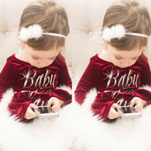 US Christmas Santa Baby Claus Kids Girls Fur Rompers Jumpsuit Outfits Clothes