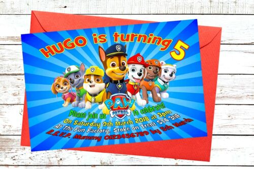 PAW Patrol birthday Party invitations girls x 10 invites Personalised for boys