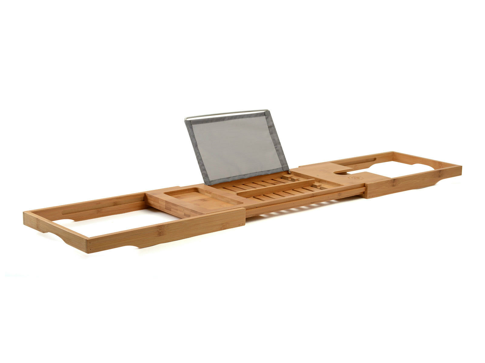 Bambusi Bamboo Bathtub Caddy Tray w Extending Sides, Reading Rack, Tablet  Holder, Cellphone Tray & Wine Glass Holder