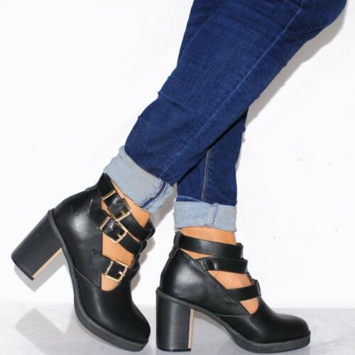 Summer Black Gold Buckles Truffle Ankle Shoes Anya Dettagli 3 Heel 5 EICqHwB