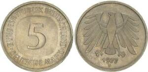 Federal Republic 5 DM Currency Coin 1975 F Lack Coinage, XF 51257